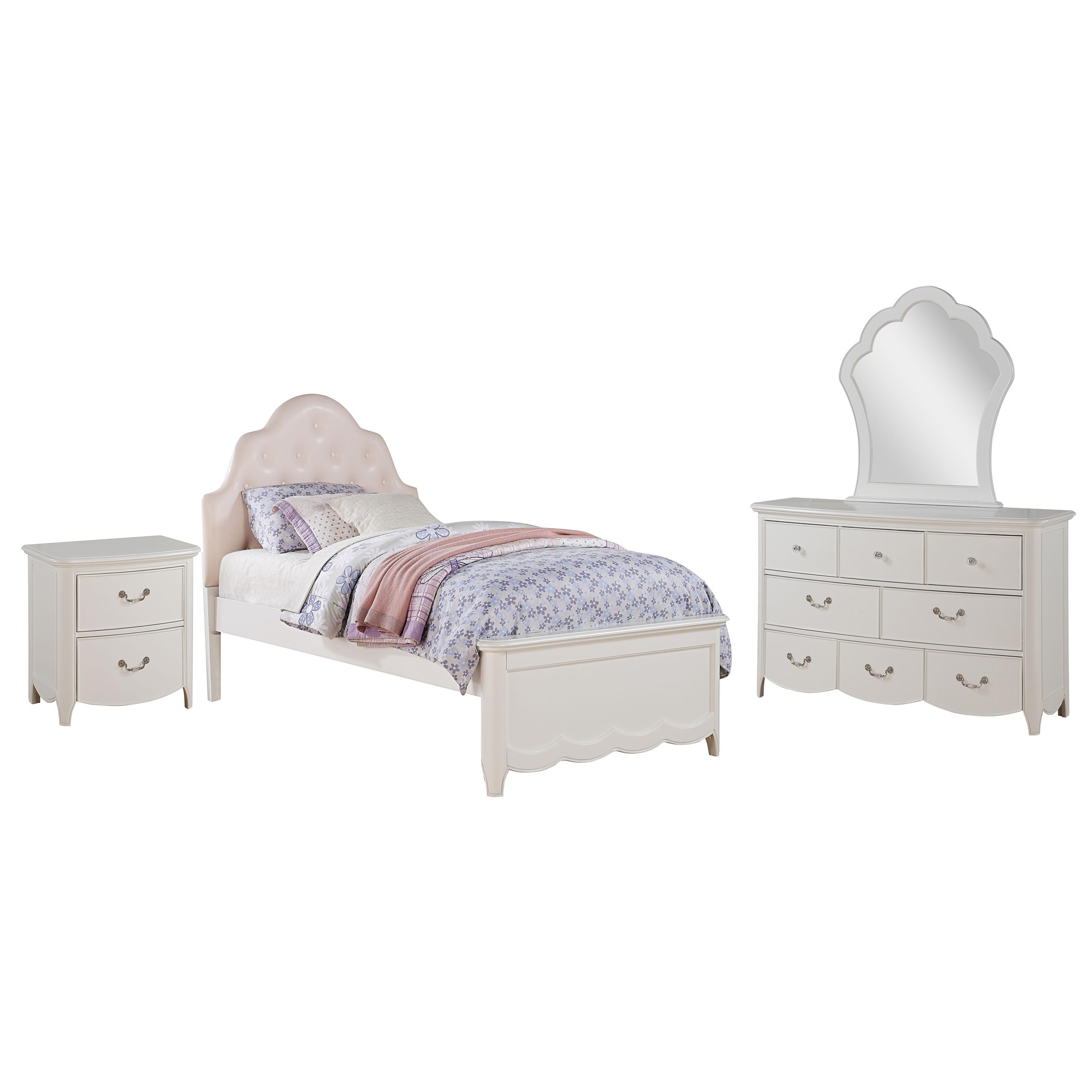Acme Furniture Cecilie White Wood Pink Faux Leather Tufte...