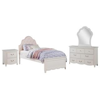 Acme Furniture Cecilie White Wood Pink Faux Leather Tufted Bedroom Set