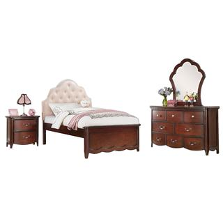 Acme Furniture Cecilie Cherry Wood Pink Faux Leather Tufted Bedroom Set
