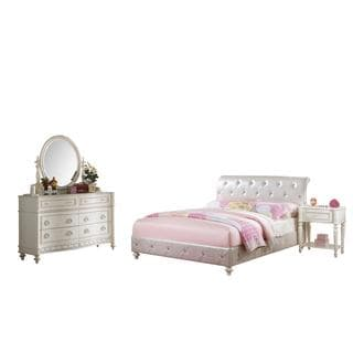 Acme Furniture Dorothy Ivory Tufted White Faux Leather 4-Piece Bedroom Set