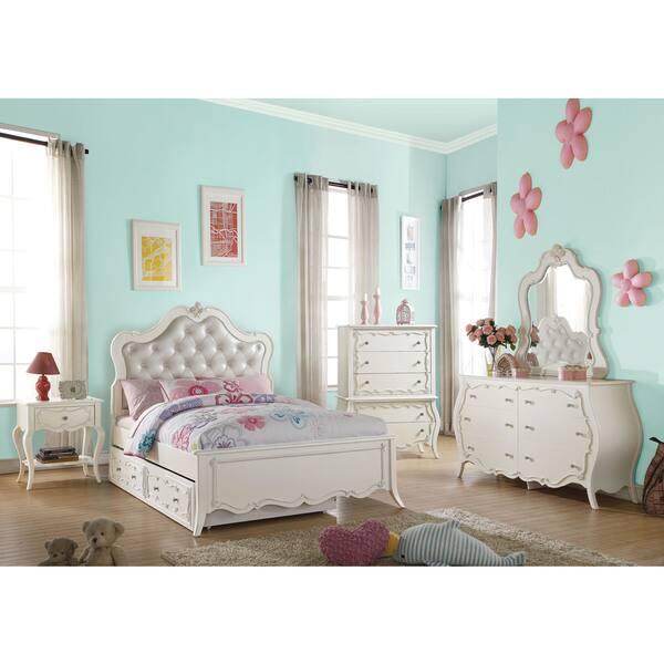 Shop Acme Furniture Edalene Tufted Pearl White Bedroom Set ...