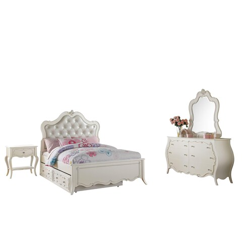 Acme Furniture Edalene Tufted Pearl White Bedroom Set