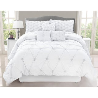 madison park lafayette white 7 piece comforter set free shipping today 18382217. Black Bedroom Furniture Sets. Home Design Ideas