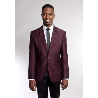 Tazio Men's Bespoke Burgundy and Black Blazer