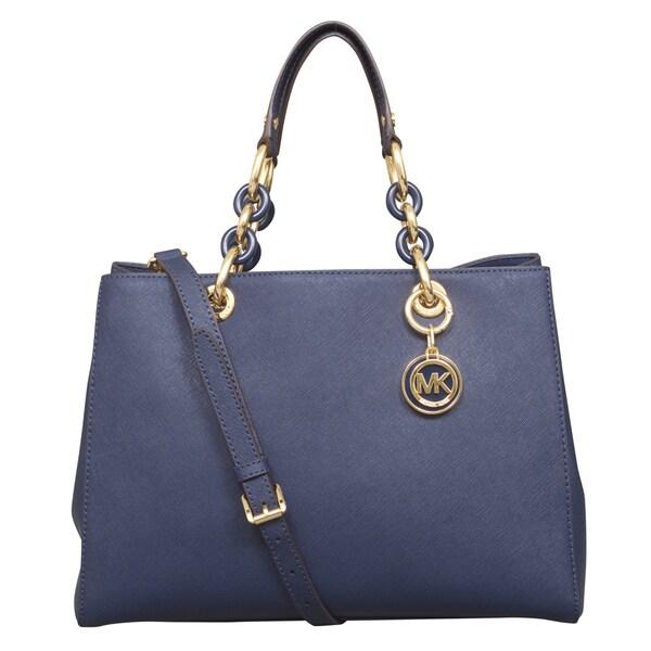 6e8ea7e4c12a ... norway michael kors cynthia medium navy satchel handbag 68447 d33db