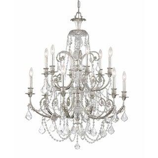 Crystorama Regis Collection 12-light Olde Silver/Crystal Chandelier