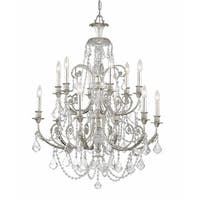 Crystorama Regis Collection 12-light Olde Silver/Crystal Chandelier