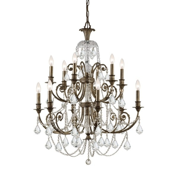 Crystorama Regis Collection 12-light English Bronze/Crystal Chandelier