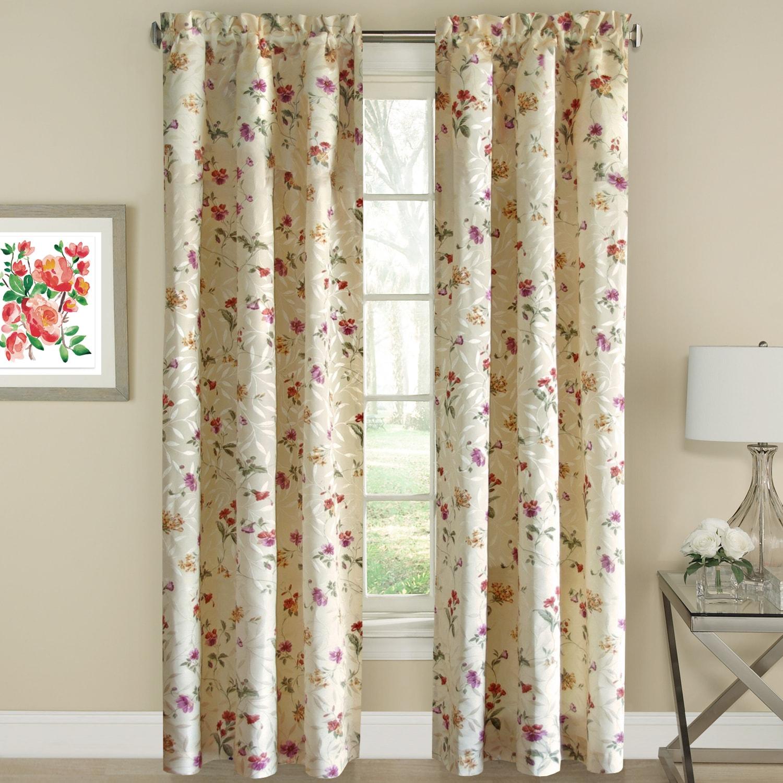 "Floral Jacquard Window Curtain Panel (84"" Panel), Multi, ..."