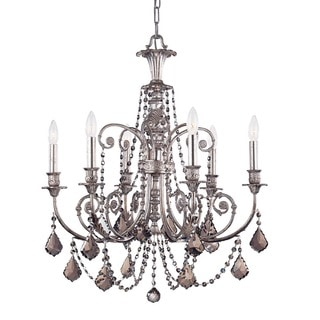 Crystorama Regis Collection 6-light Olde Silver/Crystal Chandelier