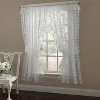 Ruffled Bridal Lace Curtain Panel Pair With Scrolling Flower Pattern - 63x130