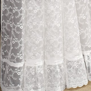 Ruffled Bridal Lace Curtain Panel Pair With Scrolling Flower Pattern