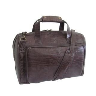 Amerileather Dark Brown Croco Print 16-inch Leather Carry-on Weekend Duffel Bag