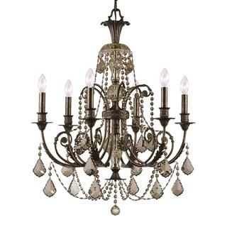 Crystorama Regis Collection 6-light English Bronze/Golden Teak Crystal Chandelier