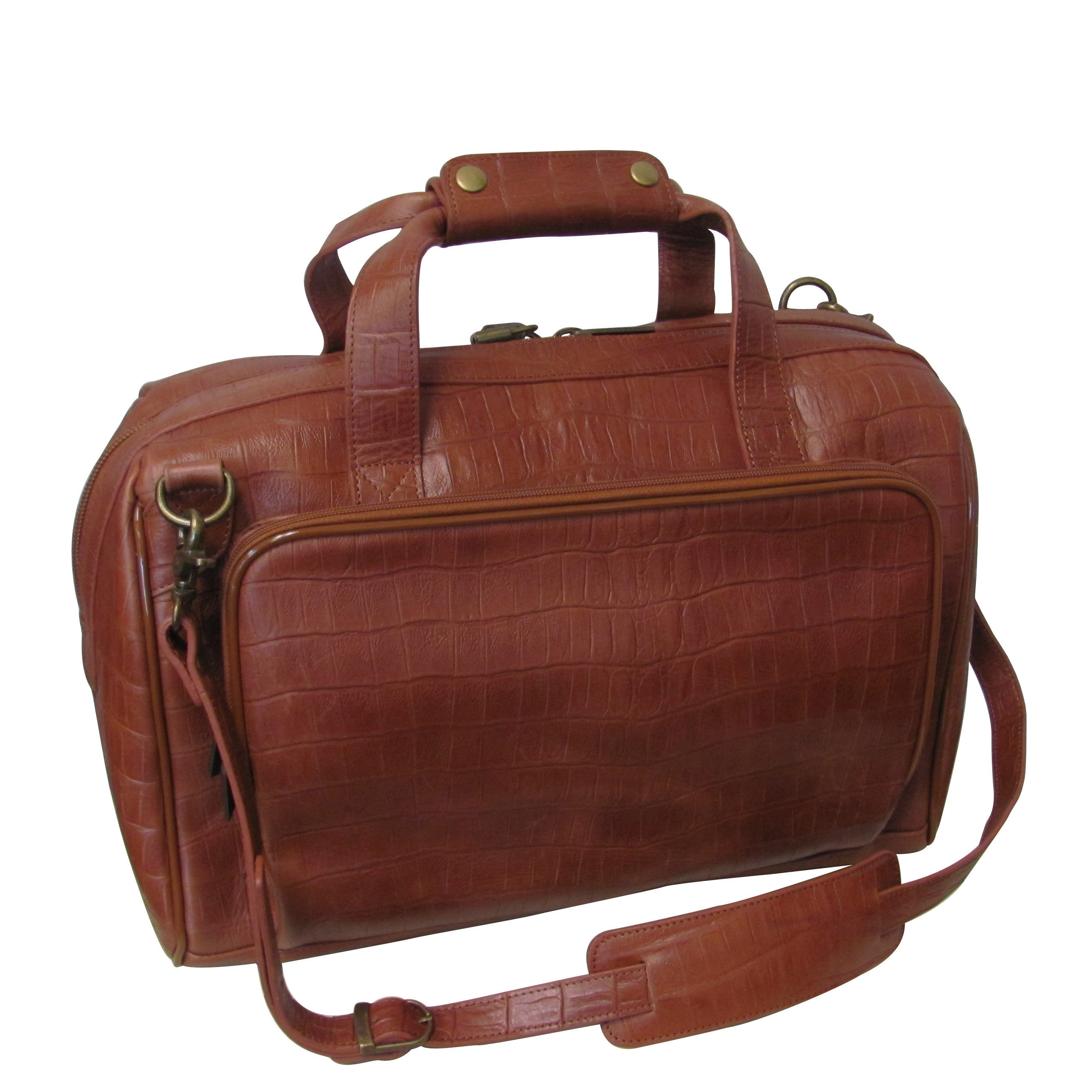 Amerileather Brown Croco Print 16-inch Leather Carry-on W...