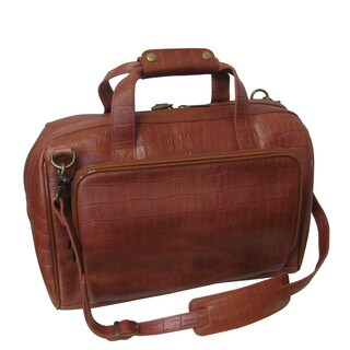 Amerileather Brown Croco Print 16-inch Leather Carry-on Weekend Duffel Bag