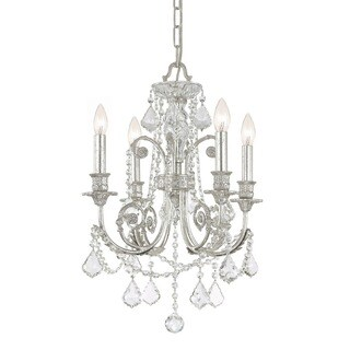 Crystorama Regis Collection 4-light Olde Silver/Swarovski Spectra Crystal Mini Chandelier
