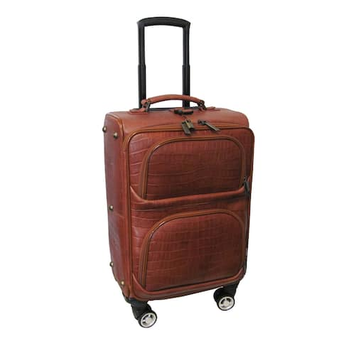 Amerileather Brown Leather Croco Print 24-inch Removable Spinner Wheels Luggage