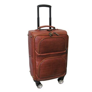 Amerileather Brown Leather Croco Print 21-inch Carry-on Spinner Suitcase