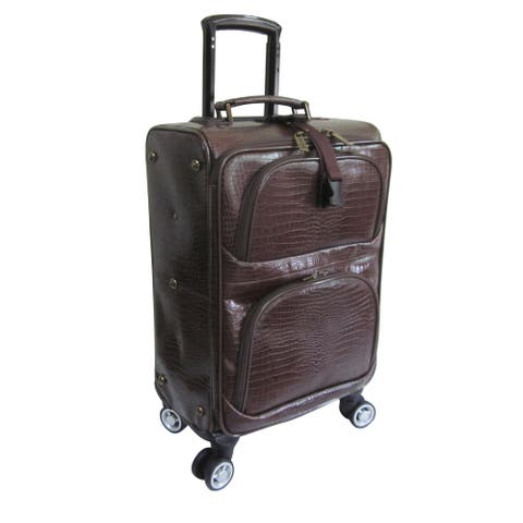 Amerileather Dark Brown Leather Croco Print 24-inch Removable Spinner Wheels Luggage