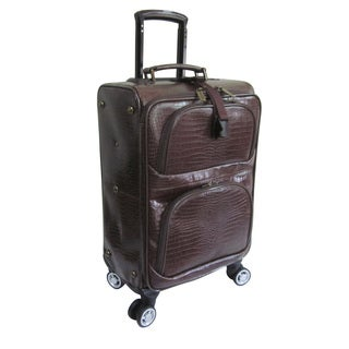 Amerileather Dark Brown Leather Croco Print 21-inch Carry-on Removable Spinner Suitcase