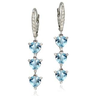 Glitzy Rocks Sterling Silver Blue and White Topaz Heart 3-Stone Dangle Earrings