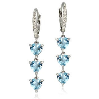 Glitzy Rocks Sterling Silver Blue and White Topaz Heart 3-Stone Dangle Earrings