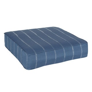 Perry Navy Dotted Stripes Indoor/ Outdoor Corded 22.5 Inch Square Cushion