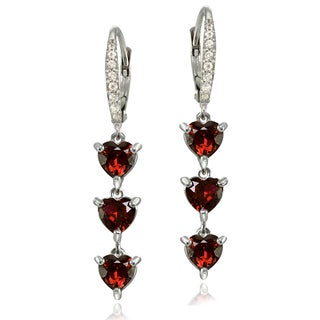 Glitzy Rocks Sterling Silver Garnet and White Topaz Heart 3-Stone Dangle Earrings