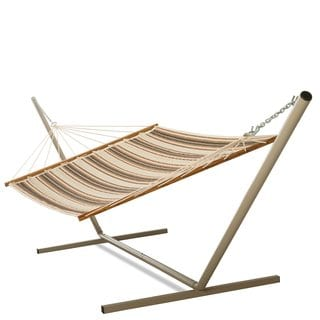 Castaway Brown and Orange Stripe Quilted Hammock