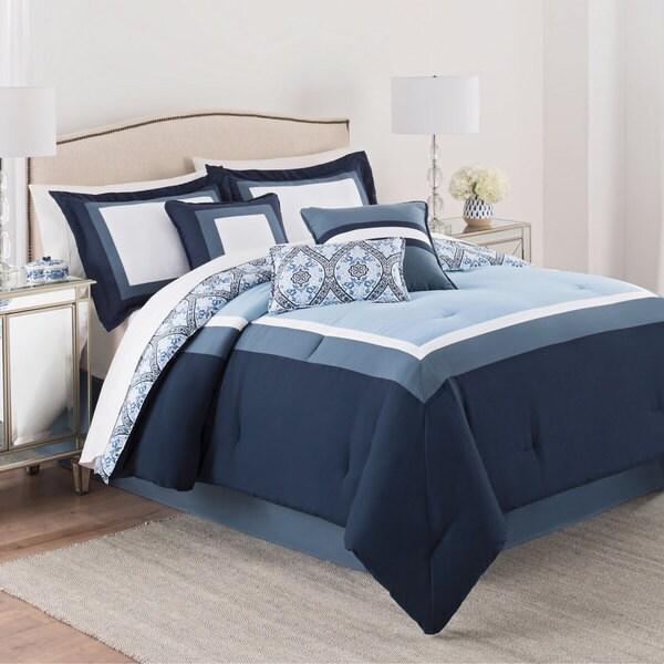Martex Carsten 7 Piece Comforter Set - White/Blue