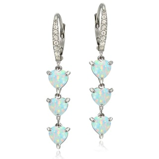 Glitzy Rocks Sterling Silver Created White Opal and White Topaz Heart 3-Stone Dangle Earrings