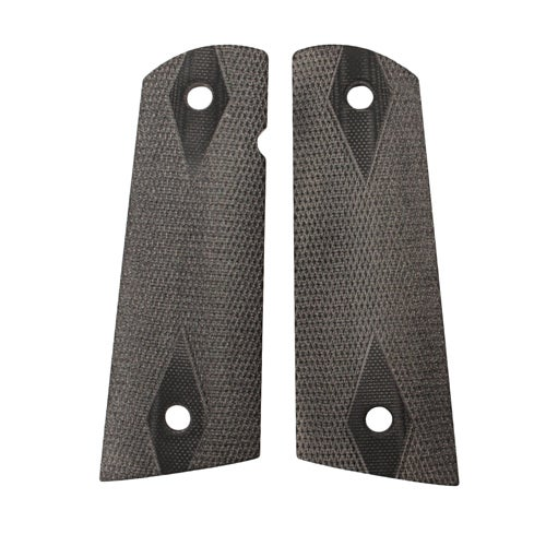 Hogue Colt & 1911 Government S&A Mag Well Grips Checkered G-10 Solid Black
