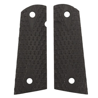 Hogue Colt & 1911 Government S&A Mag Well Grips Chain Link, G-10 Solid Black