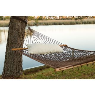 Castaway Antique Brown Polyester Rope Hammock with Pillow