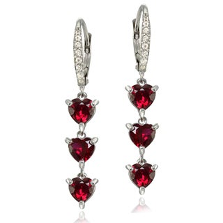 Glitzy Rocks Sterling Silver Created Ruby and White Topaz Heart 3-Stone Dangle Earrings