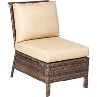 Logan Tostado Finish Powdercoated Steel Frame All-weather Wicker Deep-seating Sectional Cushioned Armless Chair