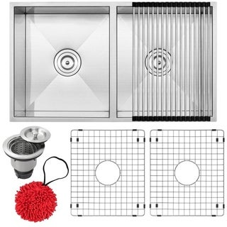 """31 1/4"""" Ticor S6501 Pacific Series 16-Gauge Stainless Steel Undermount 50/50 Ratio Double Basin Kitchen Sink with Accessories"""