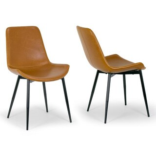 Alary Caramel Brown Faux Leather Modern Dining Chair (Set of 2)