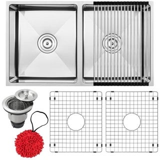 """31 1/4"""" Ticor S6511 Pacific Series 16-Gauge Stainless Steel Undermount 50/50 Ratio Double Basin Kitchen Sink with Accessories"""