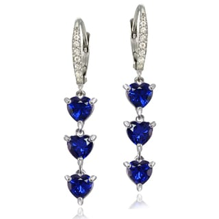 Glitzy Rocks Sterling Silver Created Blue Sapphire and White Topaz Heart 3-Stone Dangle Earrings