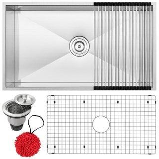 Ticor 31.25-inch Zero Radius 16 Gauge Stainless Steel Double Bowl Undermount Kitchen Sink