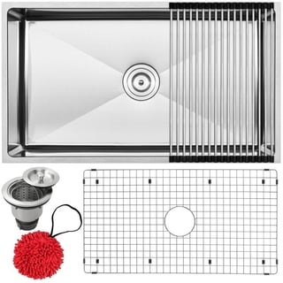 Ticor 31.25-inch Tight Radius 16 Gauge Stainless Steel Single Bowl Undermount Kitchen Sink