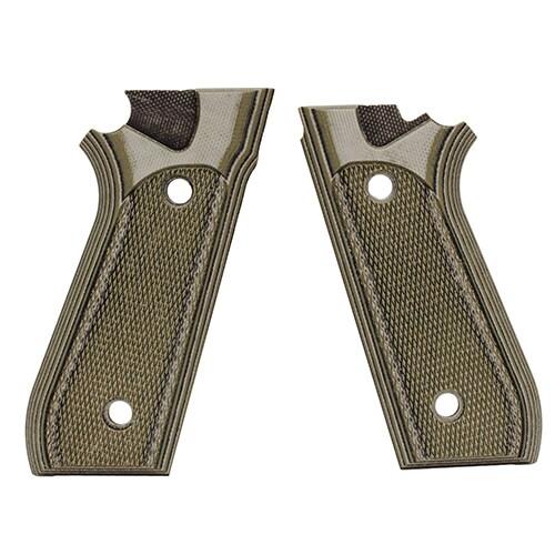 Hogue Taurus PT99+ Grips w/Decocker Checkered G-10 G-Mascus Green