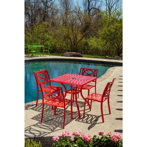 Lasso Candy Red Finish 31.5-inch Square Cafe Table with Umbrella Hole and 4 Stackable Cafe Chairs Set