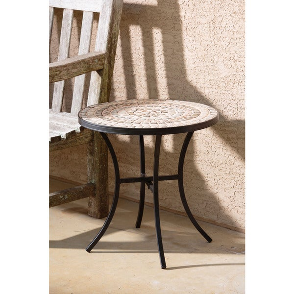 Boracay Beige Ceramic And Wrought Iron 20 Inch Round Mosaic Outdoor Side Table With Tile