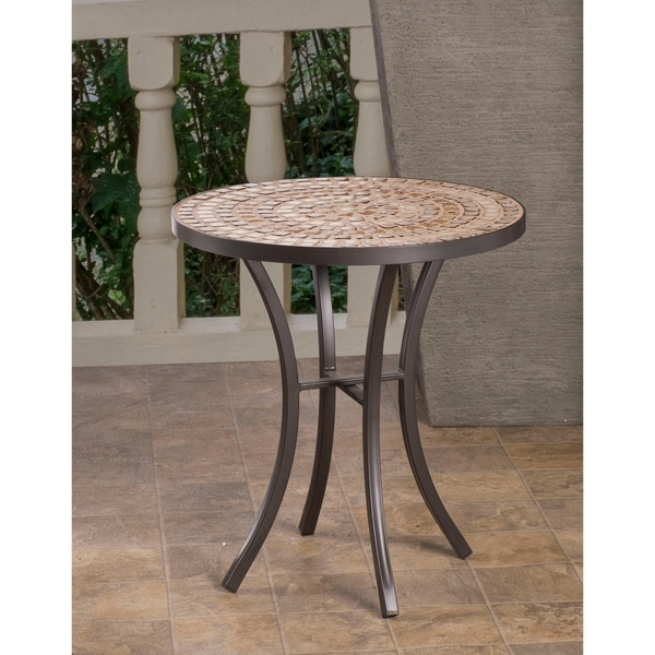 Shop Boracay Beige Ceramic and Wrought Iron 20-inch Round ... on Outdoor Living Iron Mosaic id=82058