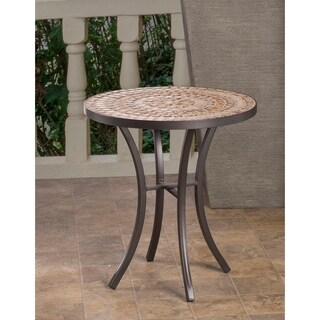 Boracay Beige Ceramic and Wrought Iron 20-inch Round Mosaic Outdoor Side Table With Tile Top and Base