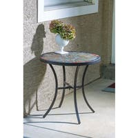Sagrada Ceramic 20-inch Round Mosaic Outdoor Side Table with Tile Top and Base