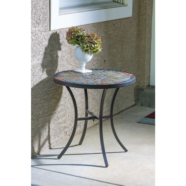 Sagrada Ceramic 20 Inch Round Mosaic Outdoor Side Table With Tile Top And Base